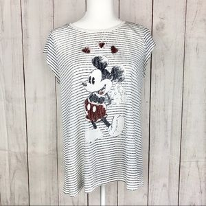 Lauren Conrad Mickey Mouse Striped Graphic Tee
